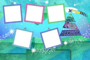 Christmas five photo frames cards