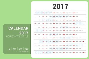 Calendar 2017 Horizontal Design