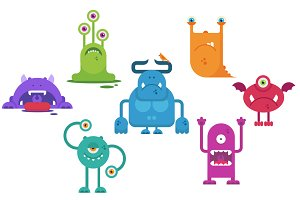 Monsters Vector Flat Clip Art