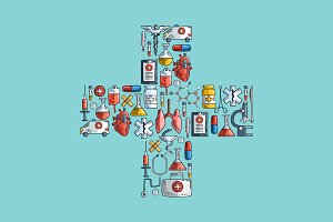 Health care and medicine icons.