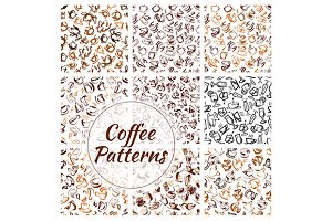Coffee drinks seamless patterns