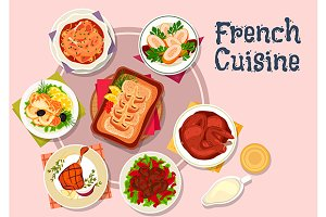 French cuisine meat and fish dishes