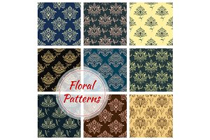 Paisley floral seamless patterns