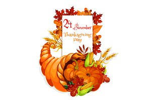Thanksgiving Day cornucopia design