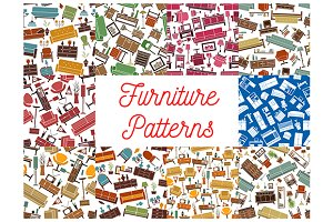 Home furniture seamless patterns