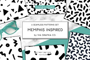 6 Memphis Style Seamless Patterns