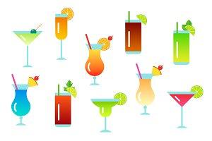 Cocktails Vector Flat Clip Art