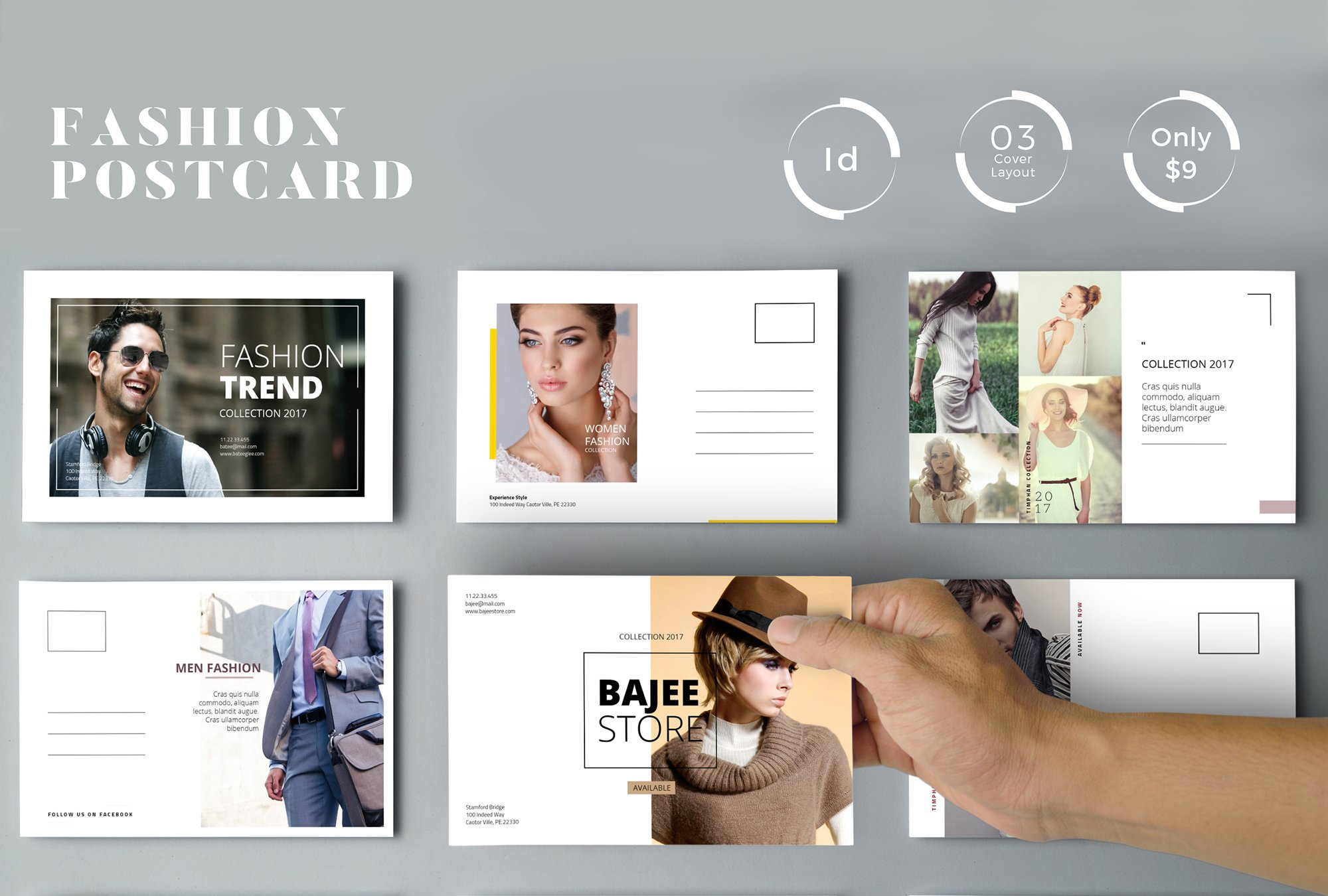 Postcard Fashion Ads ~ Card Templates ~ Creative Market