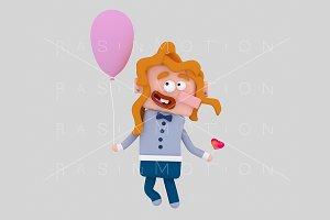 3d illustration. Redhead girl.
