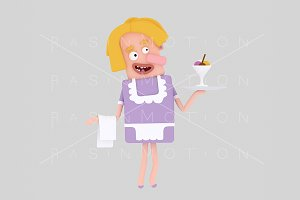 3d illustration. Waitress.