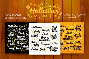 Halloween Lettering Design Set