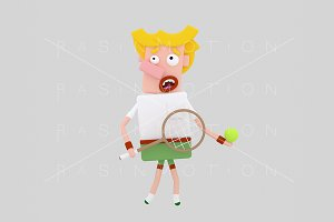 3d illustration. Tennis player.