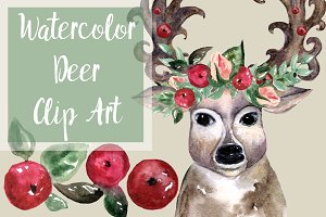 Oh, deer! - Watercolor Clip Art Set