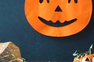 Halloween symbols on dark background