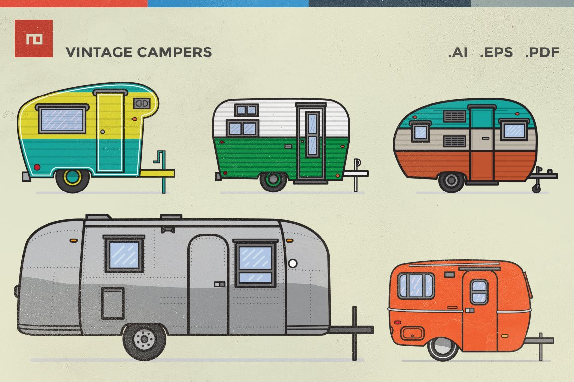 Vintage Campers Illustrations Creative Market