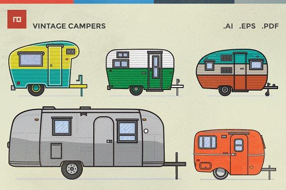 Vintage Campers Illustrations Creative Market
