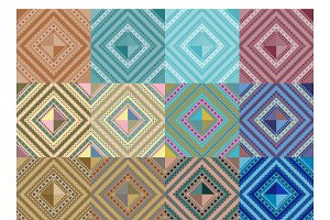 Set of seamless pattern abstract sha