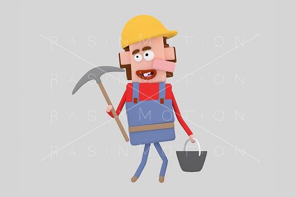 3d illustration. Builder.  - Illustrations