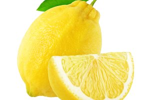 Isolated cut lemon fruit