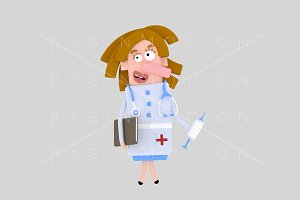 3d Illustration. Nurse. Doctor.