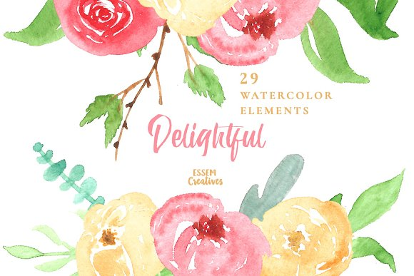 Watercolor Spring Flowers Clipart Illustrations Creative Market