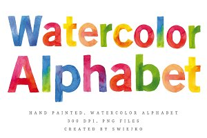 Watercolor Alphabet, letters