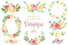 Watercolor Floral Wreaths Clipart