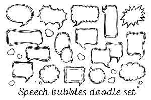 Speach bubbles doodle set
