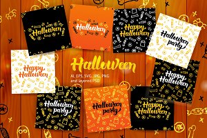 Halloween Postcards Lettering Design