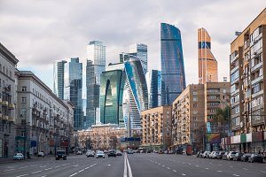 Landscape of Moscow architecture combining modern and old parts of city, Russia