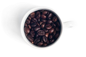 mug with coffee beans