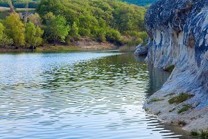 Spring mountain lake, Crimea