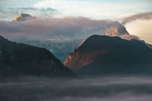 Misty sunrise in the mountains