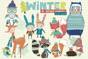 Winter woodland animals