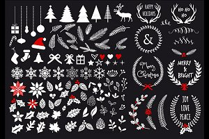 White Christmas clip art set