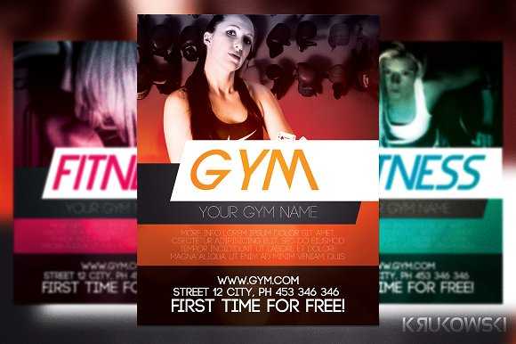 gym training flyer template flyer templates creative market