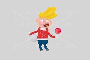 3d illustration. Blonde kid.