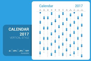 Calendar 2017 Vertical Design