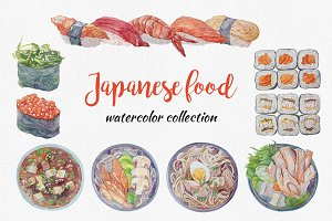 Japanese food. Watercolor collection