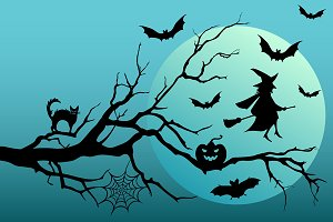 Halloween trees with bats