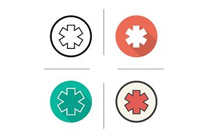 Star of life. 4 icons. Vector