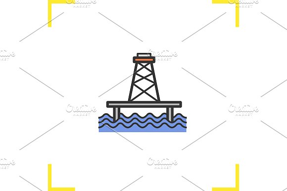 Offshore sea well icon. Vector - Icons