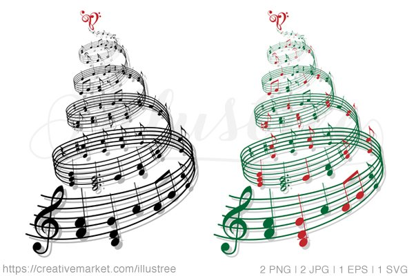 christmas tree with music notes graphics creative market