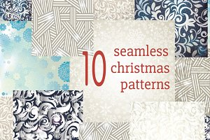 10 Chrismas seamless patterns