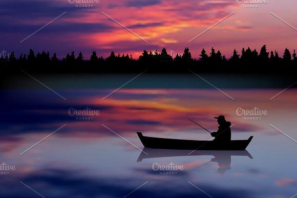 Fisherman. Sunset landscape. Vector - Illustrations