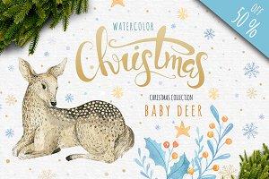 Watercolour baby deer