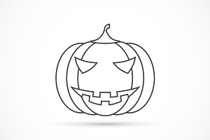 Helloween pumpkin outline icon