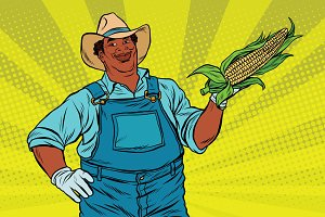 African American farmer with corn