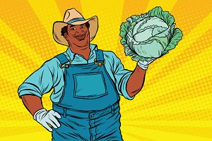 African American farmer with cabbage
