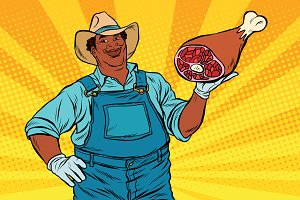 African American farmer with meat